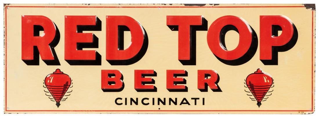 Red Top Beer Tin Sign.