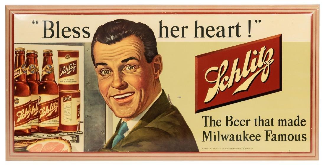"""Schlitz """"Bless Her Heart"""" Metal Advertising Sign."""
