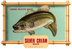 Silver Cream Beer Four DieCut Fish Signs