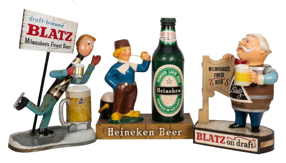 Three Blatz and Heineken Store Display Beer Figures.