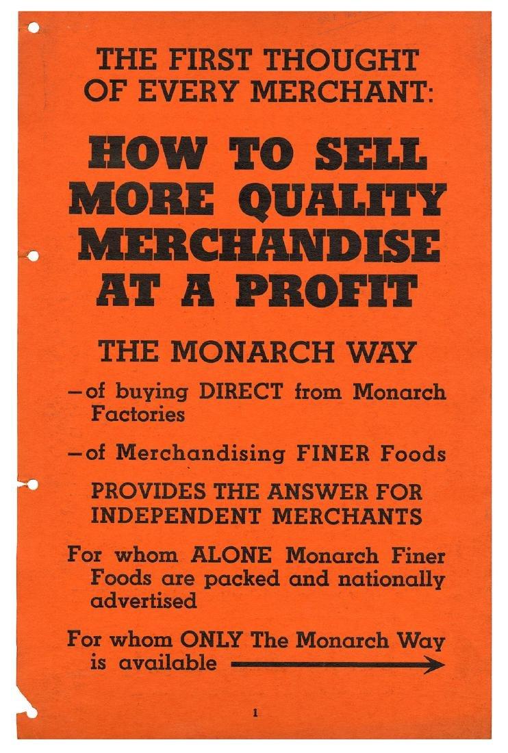 Monarch Finer Foods Salesman Sample Portfolio. - 2