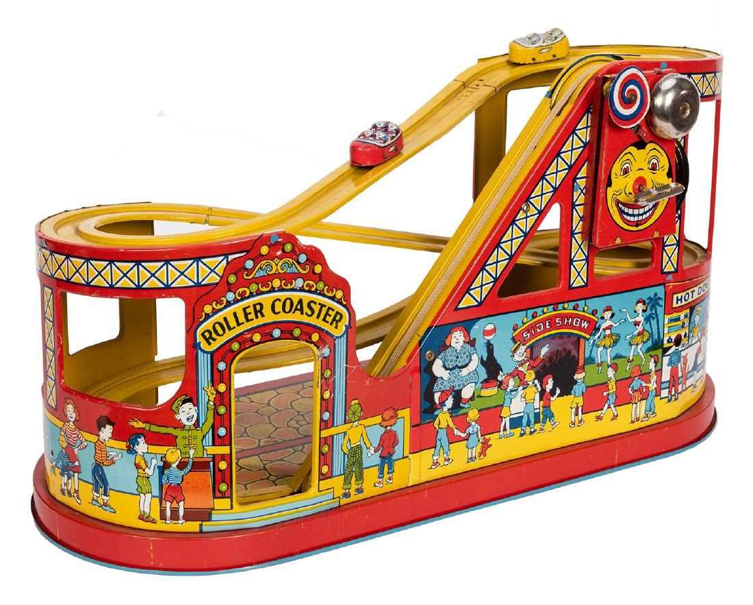 J. Chein Tin Litho Roller Coaster Carnival Toy.