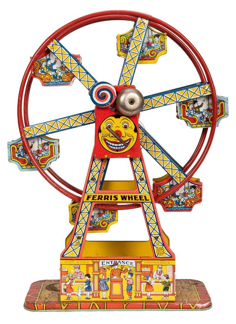 J. Chein Tin Litho Ferris Wheel Toy.