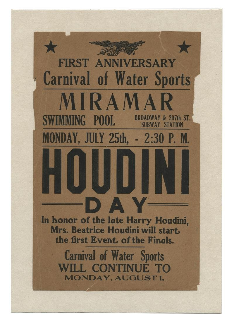Houdini Day Memorial Miramar Swimming Pool Flyer.