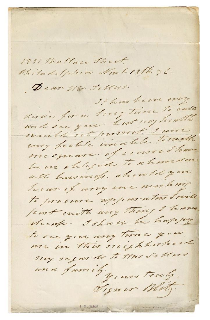 Signor Blitz Autograph Letter Signed.
