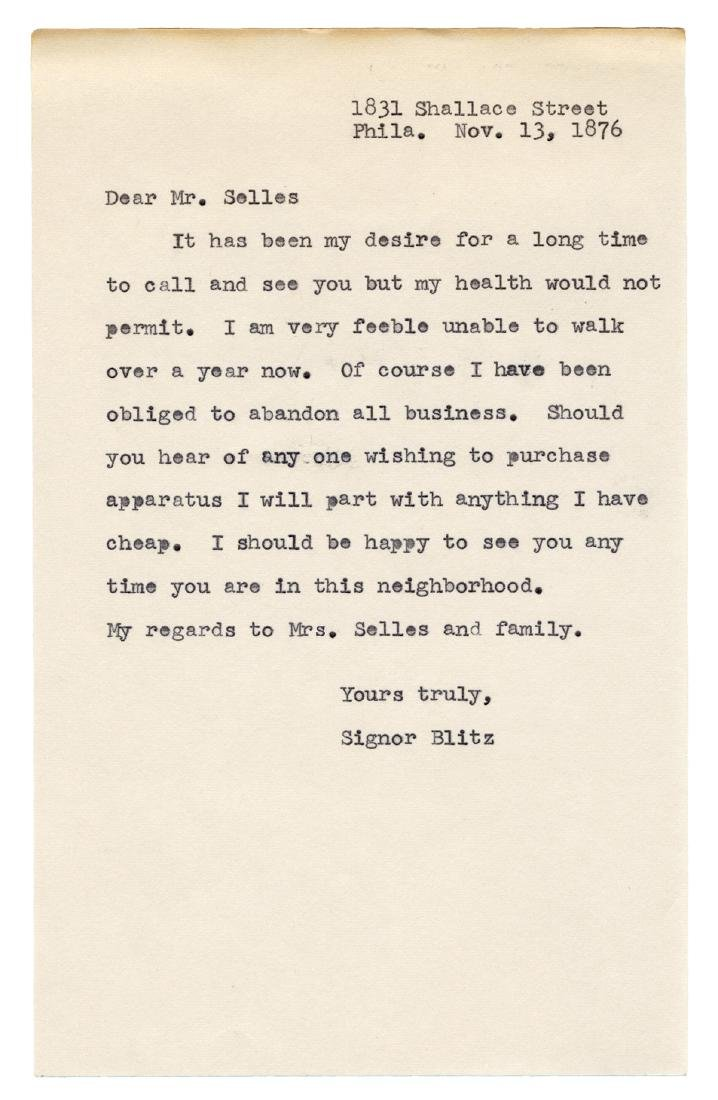 Signor Blitz Autograph Letter Signed. - 2