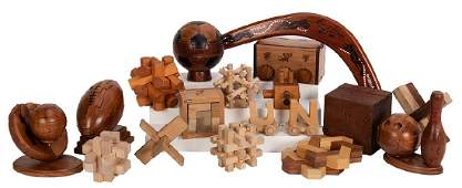 Group of Wooden Puzzles Some Related to Houdini