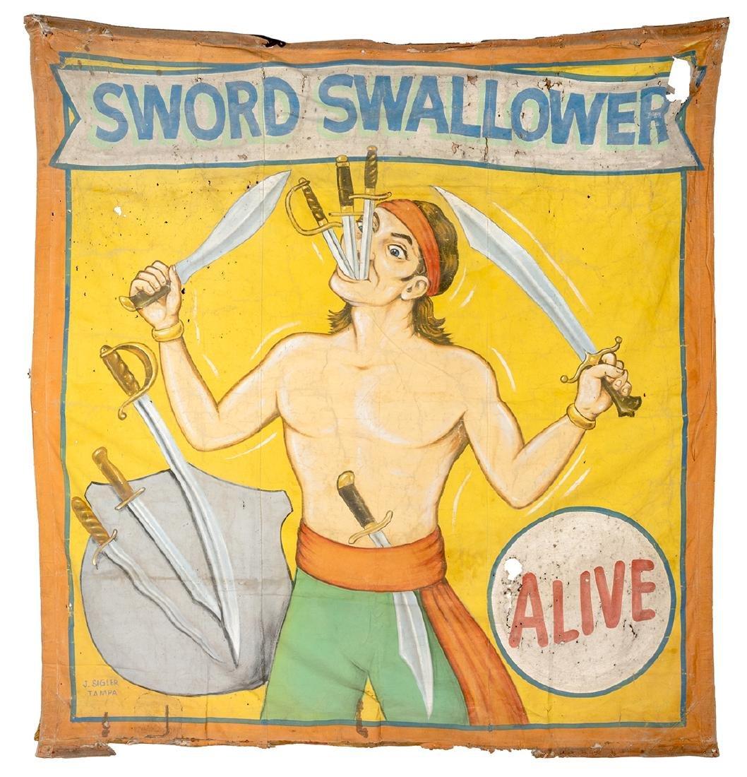Sword Swallower. Sideshow Banner.