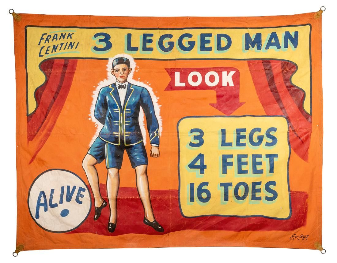 Frank Lentini. 3 Legged Man Sideshow Banner.
