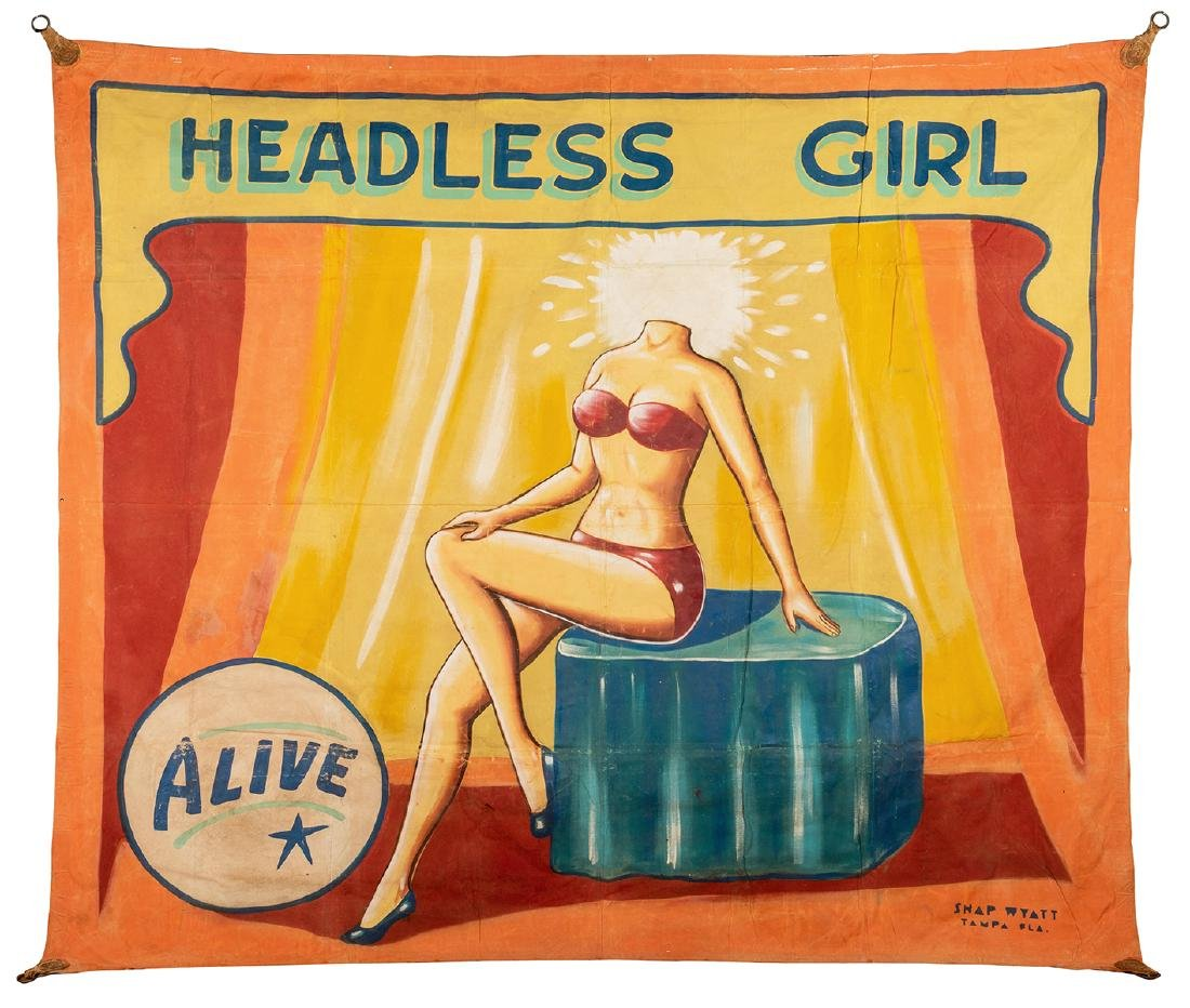 Headless Girl. Sideshow Banner.