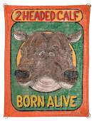 Two Headed Calf. Born Alive. Miniature Sideshow Banner.