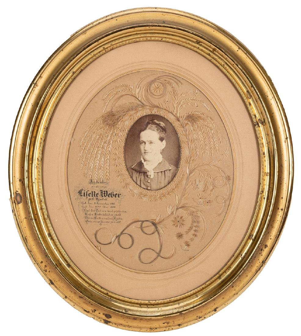 Antique Hair and Straw Mourning Portrait.
