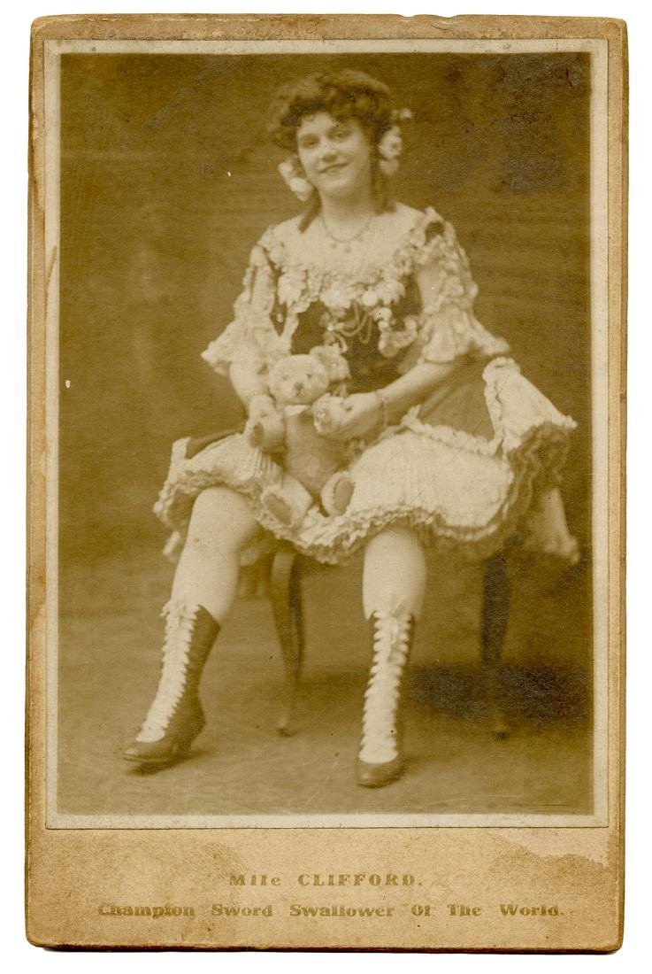 Mlle. Clifford Sword Swallower Cabinet Card.