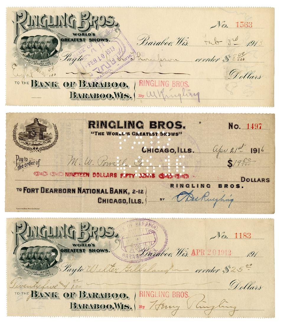 Trio of Checks Signed by the Ringling Brothers.