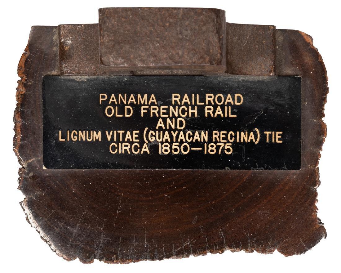 Panama RR Rail and Lignum Vitae Tie Bookends. - 2