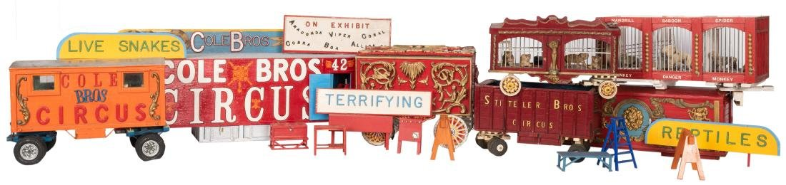 Group of Circus and Side Show Model Trains, Wagons, and