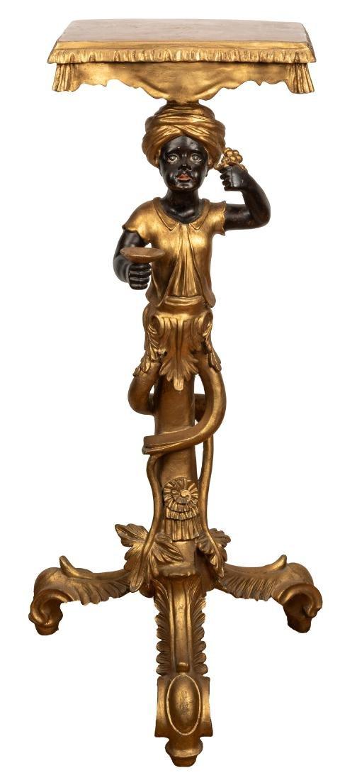 Venetian Blackamoor Pedestal Side Table.  Antique
