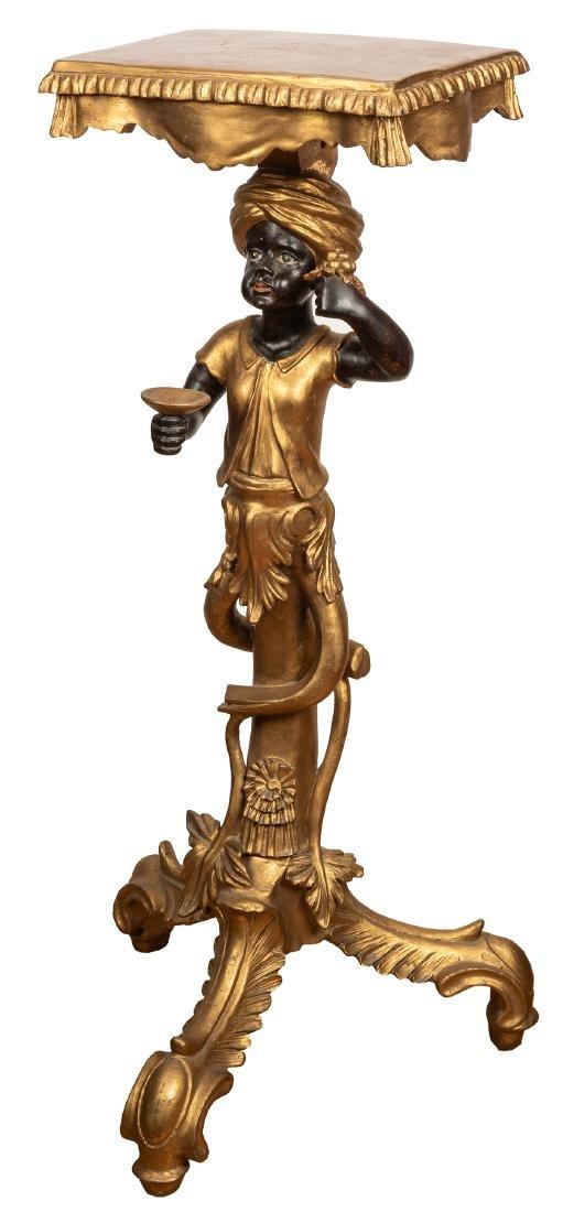 Venetian Blackamoor Pedestal Side Table.  Antique - 3