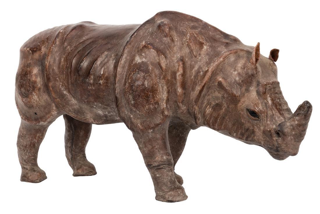 Leather African Rhinoceros Figure.