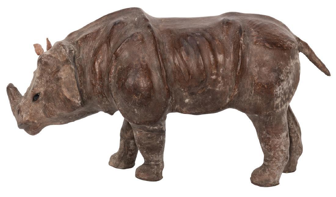 Leather African Rhinoceros Figure. - 2