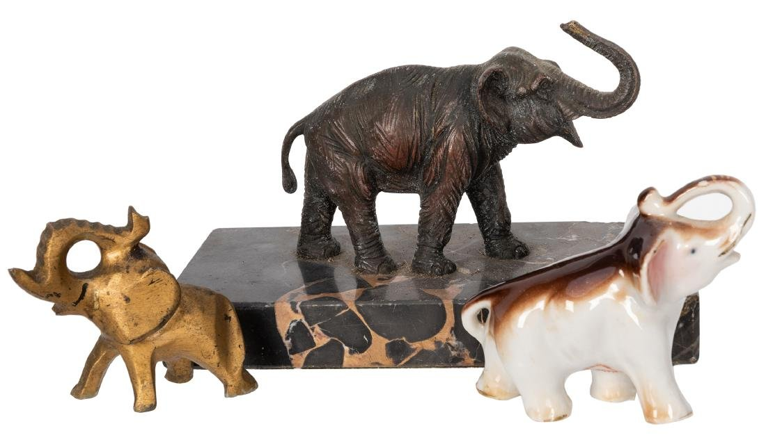 Bronze Elephant on Marble Stand.
