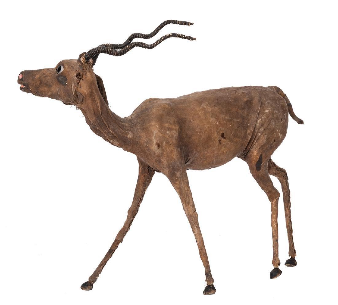 Leather African Gazelle Figure. - 2