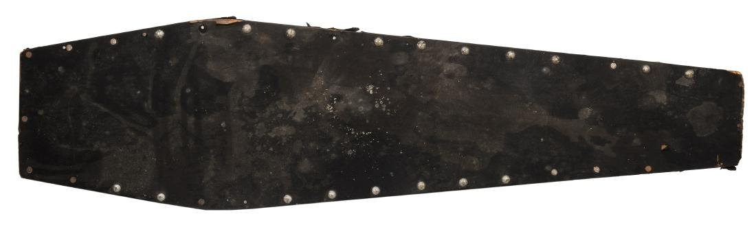 Antique Felt-Covered Wooden Coffin.