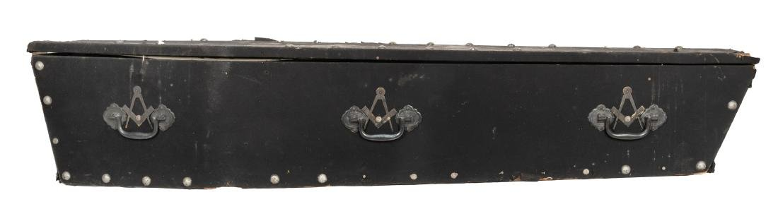 Antique Felt-Covered Wooden Coffin. - 2