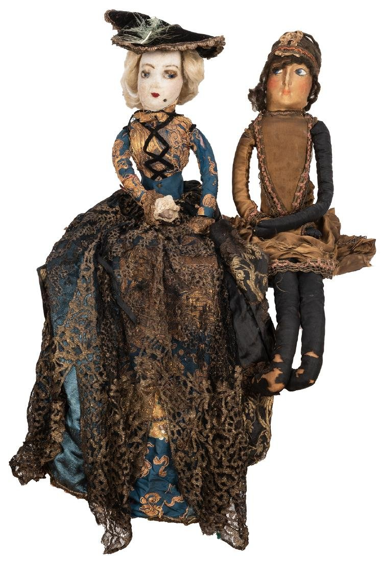 Large French Boudoir Cloth Dolls.