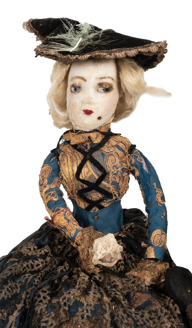 Large French Boudoir Cloth Dolls. - 2