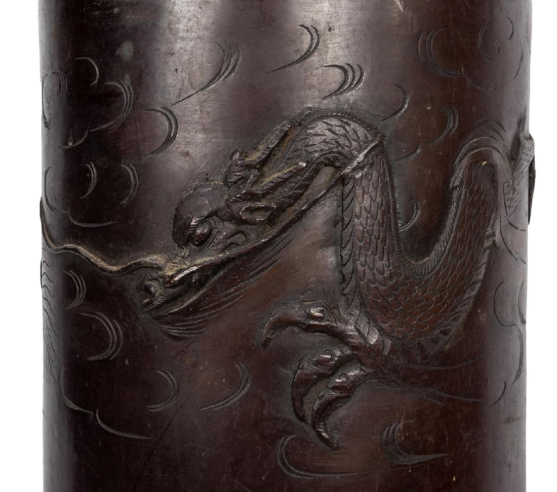 Dragon Design Copper / Brass Umbrella Stand. - 2