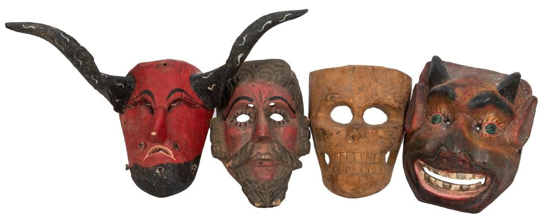 Four Mexican / Guatemalan Folk Art Masks.