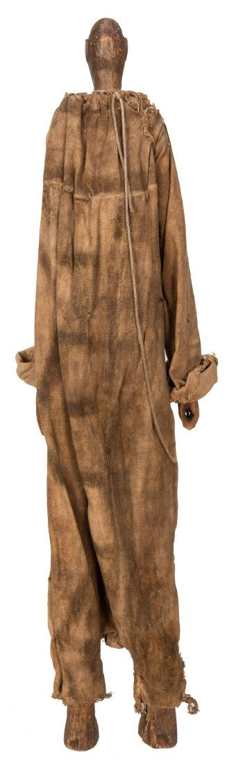 Tall African Wood Carved Dressed Doll/Puppet. - 2