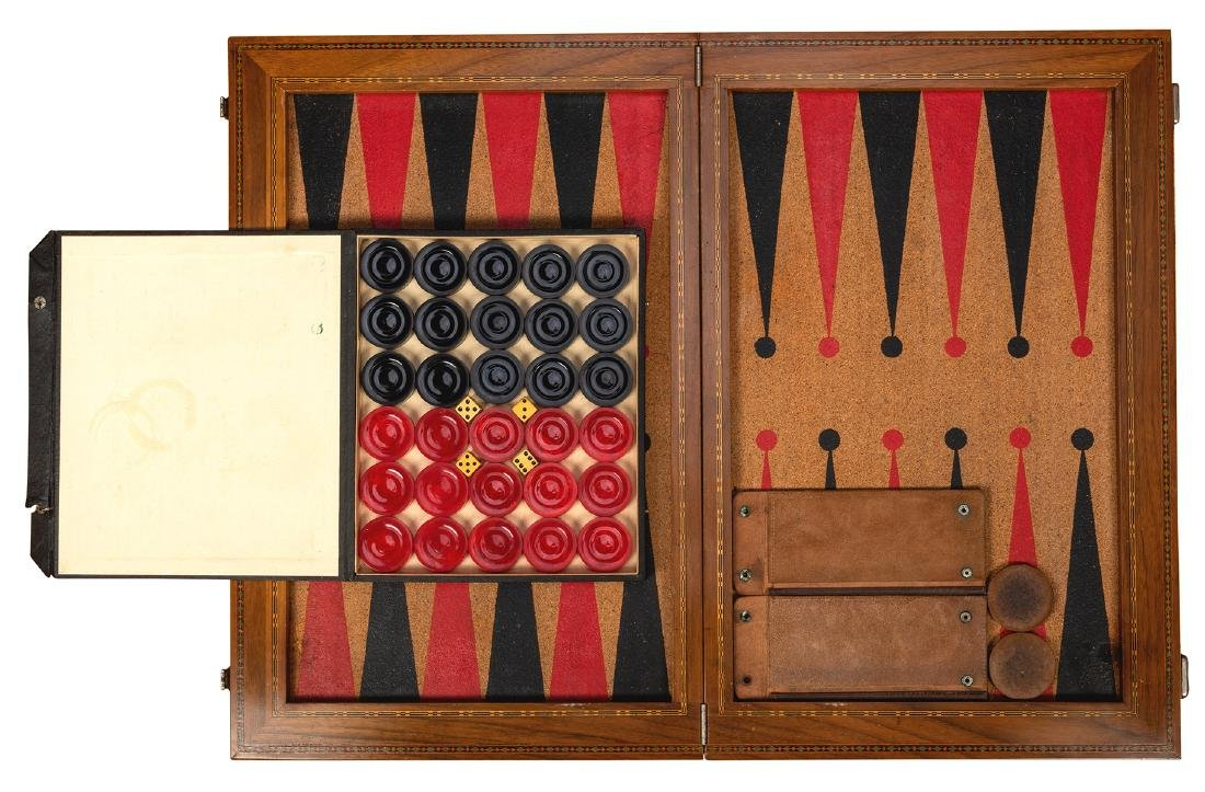 Two Vintage Backgammon Sets with Bakelite Chips - 2