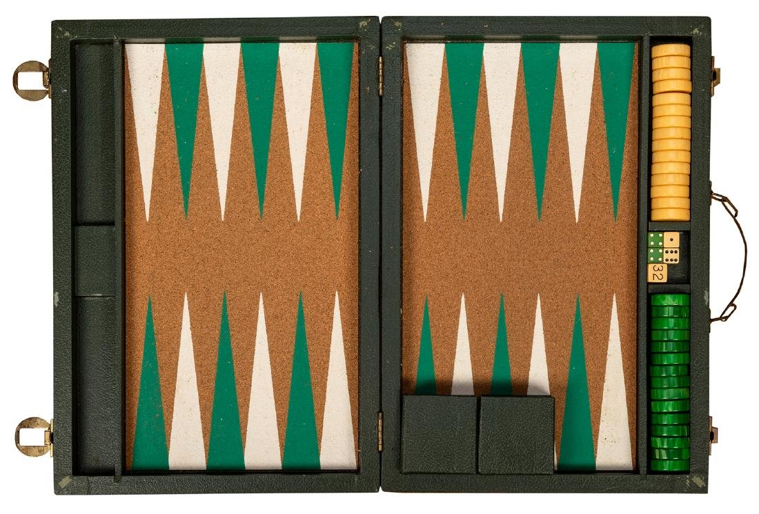 Two Vintage Backgammon Sets with Bakelite Chips - 3