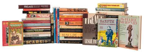 Several Shelves of Books on Sideshows, Freaks, and