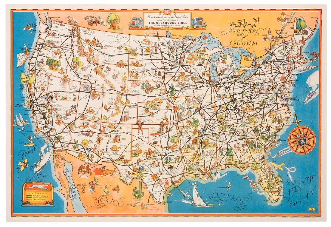 A Good-Natured Map of The United States. The Greyhound