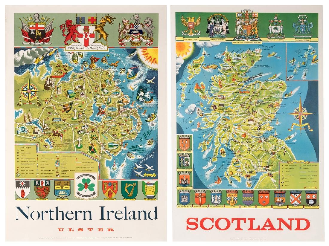 Northern Ireland and Scotland. Two Travel Posters.