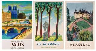 French Railways. Three Original Travel Posters.