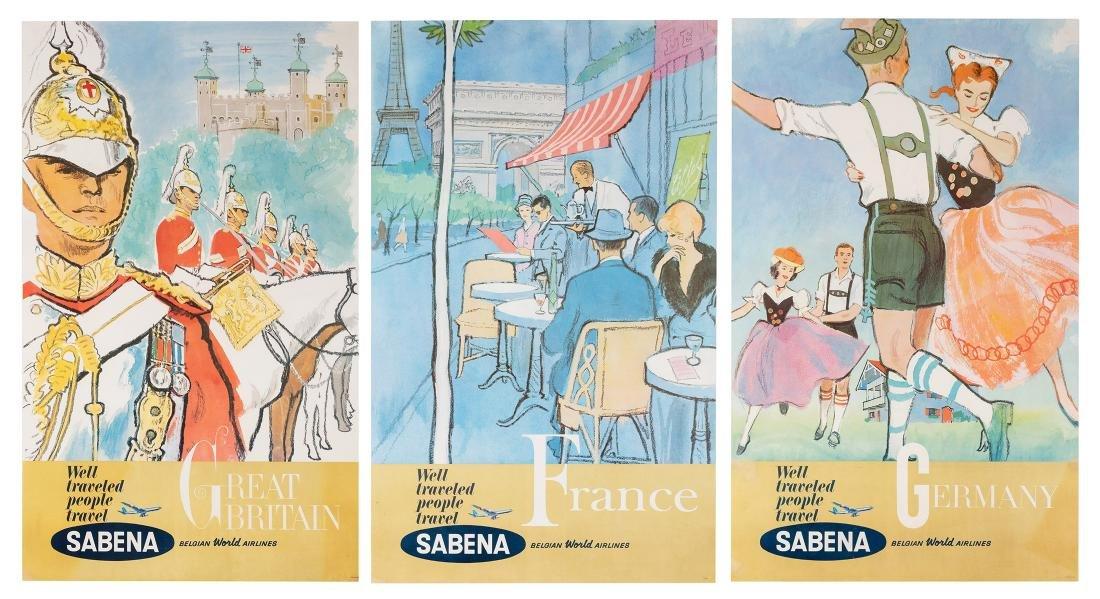 Sabena. Three Original Airline Travel Posters.