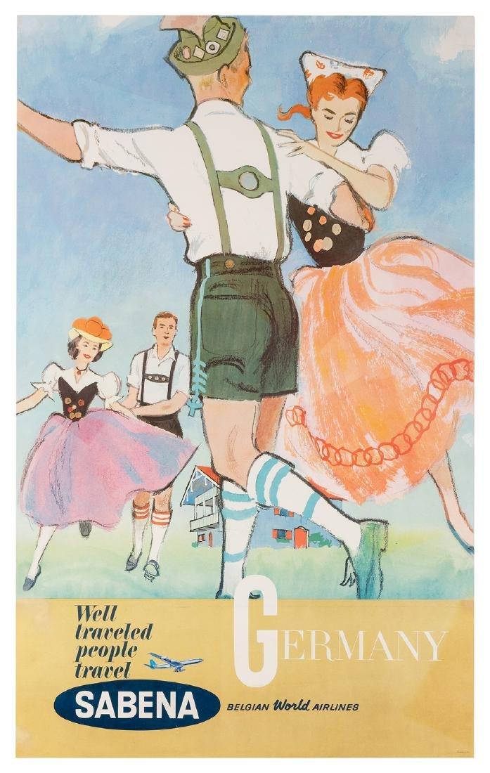 Sabena. Three Original Airline Travel Posters. - 4