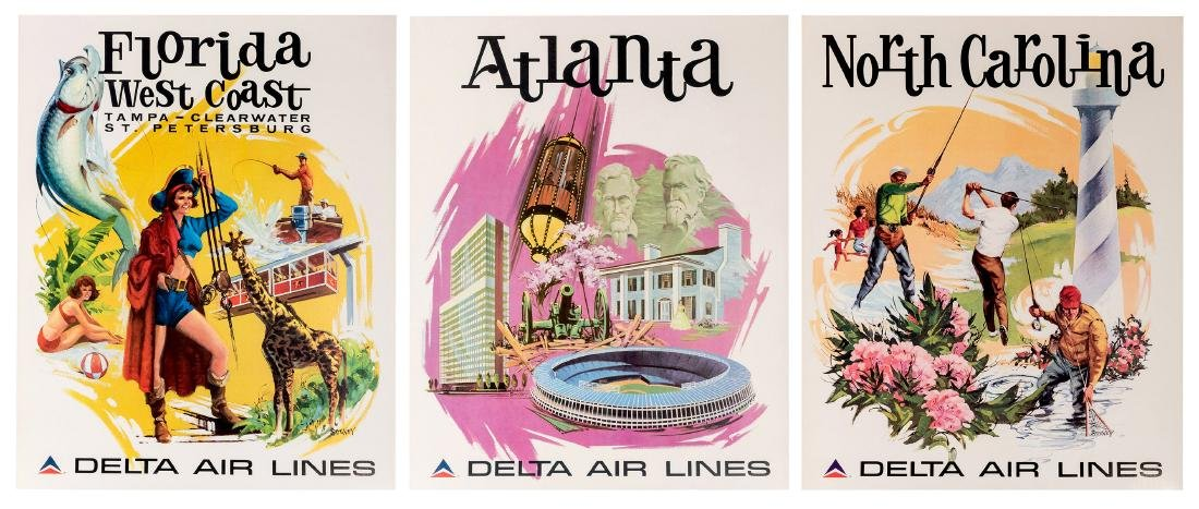 Delta Air Lines. Four Original Airline Travel Posters.