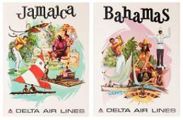 Delta Air Lines Two Original Airline Travel Posters