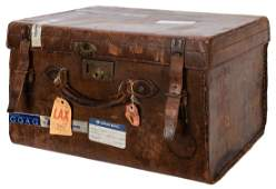 Doug Henning's Small Leather Traveling Trunk.