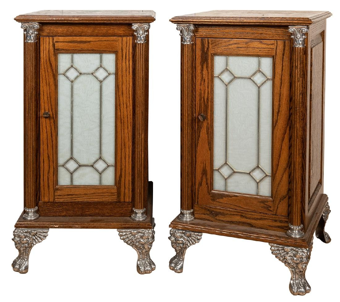 Pair of Electric Wooden Slot Machine Stands.