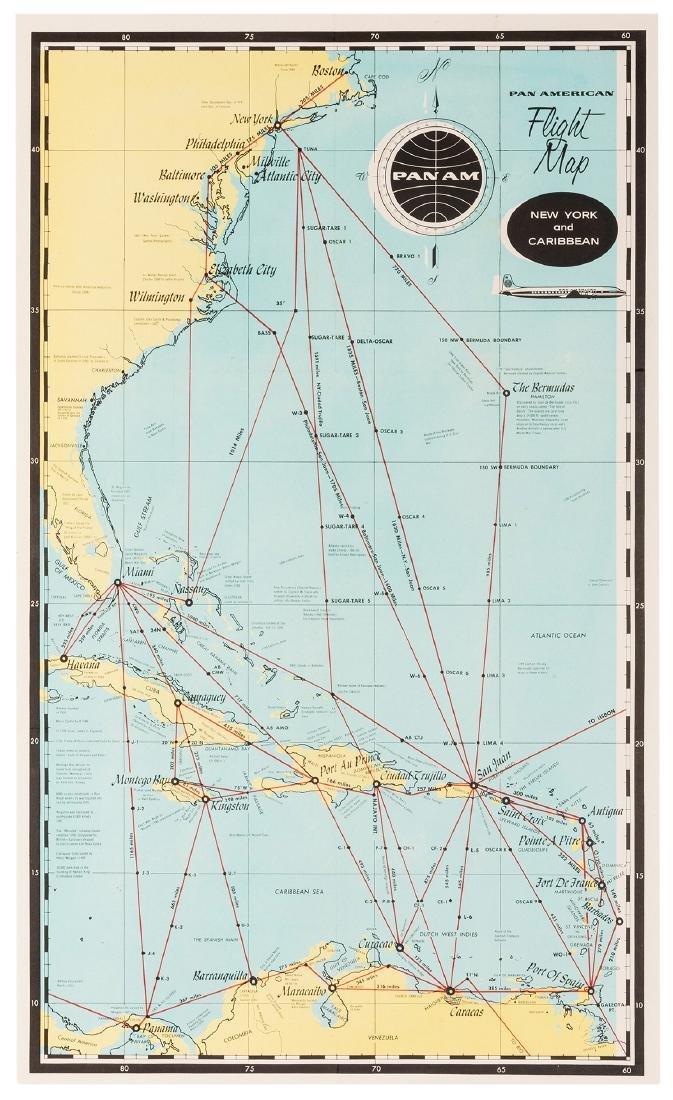 Pan American Flight Map. New York and Caribbean.
