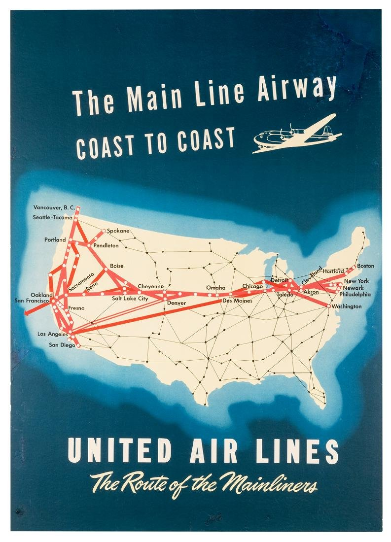 United Air Lines. The Route of the Mainliners.