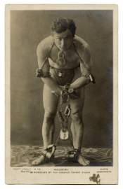 Houdini Real Photo Postcard. ″Manacled by the
