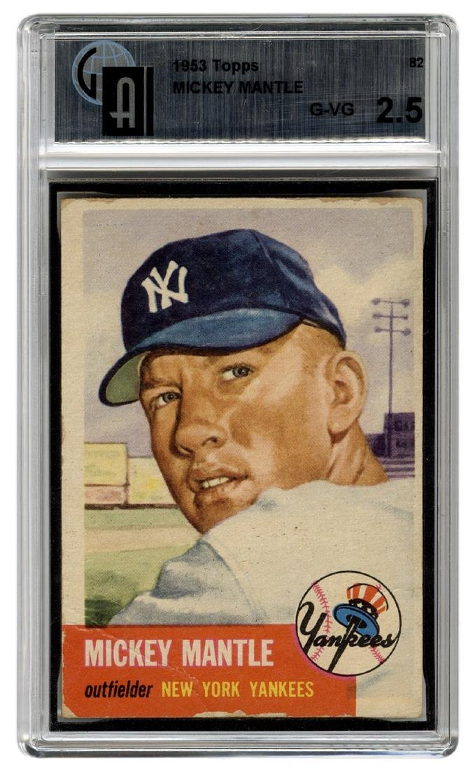 1953 Topps Mickey Mantle No 82 Ga Gvg 25