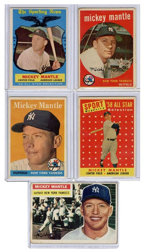 Mickey Mantle 1950s Topps Baseball Card Lot Including